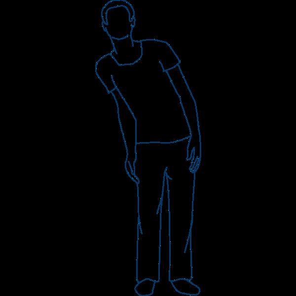 Spasmes des muscles antérieurs du tronc et du dos d'un côté du corps